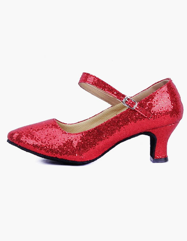 Zapatos de salón con lentejuelas y punta estrecha Zapatos de baile Mary Jane Zapatos de baile latino cwQbvHqFfP