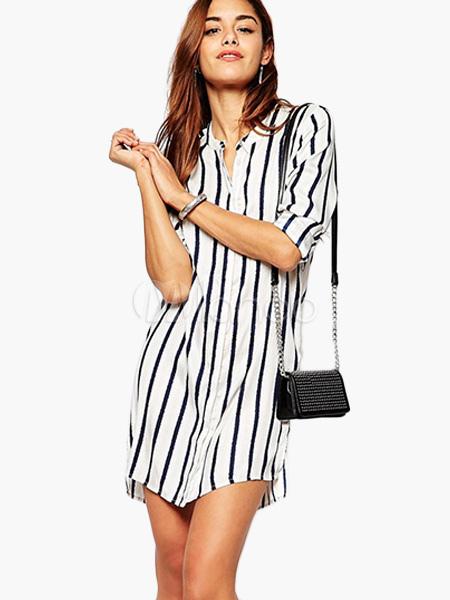 27e8d1dc9e01 Escote redondo Split frontal vestido largo de mangas rayas alta baja diseño  camiseta