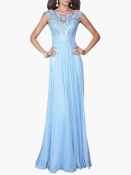 Buy Maxi Prom Dress 2018 Blue Applique Sleeveless Long Party Dress Women Summer Dress for $21.59 in Milanoo store