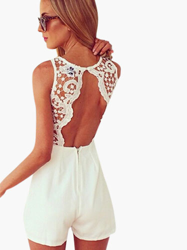 Lace Backless Romper Cheap clothes, free shipping worldwide