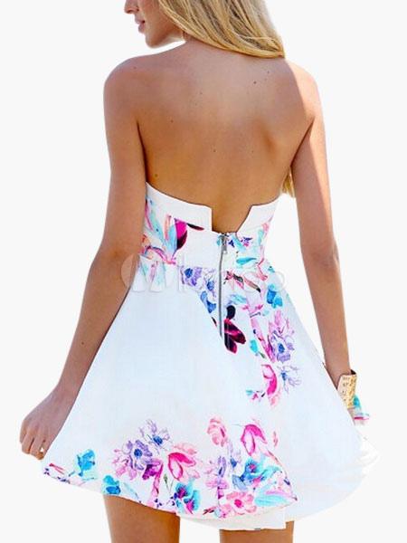 Sexy White Strapless Zipper Cotton Flax Women's Mini Dress