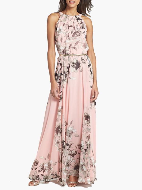 Floral Maxi Dress Women Chiffon Sleeveless Peach Long Summer Dress