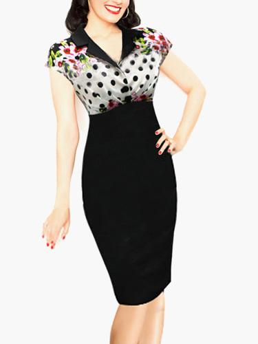 Buy Black Polka Dot Floral Printed Women's Vintage Dress for $26.99 in Milanoo store