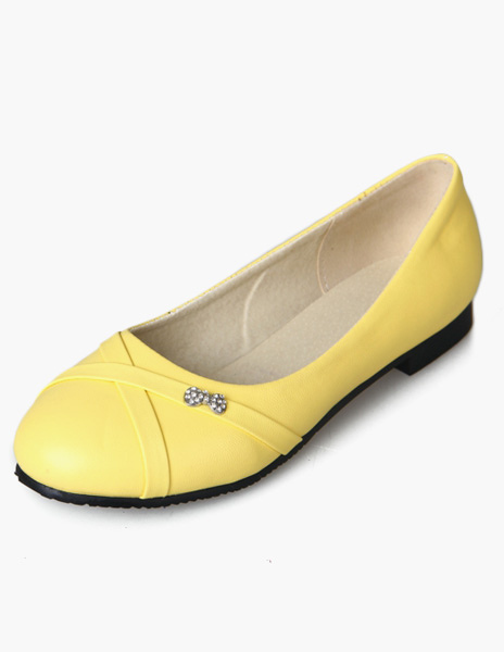 Women Ballet Flats Yellow Round Toe Slip On Flat Pumps