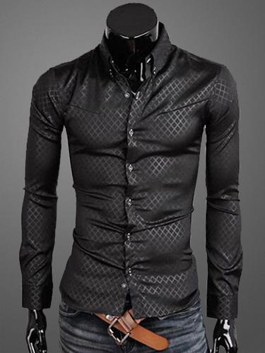 Buy Turndown Collar Long Sleeves Cotton Men's Casual Shirt for $12.74 in Milanoo store