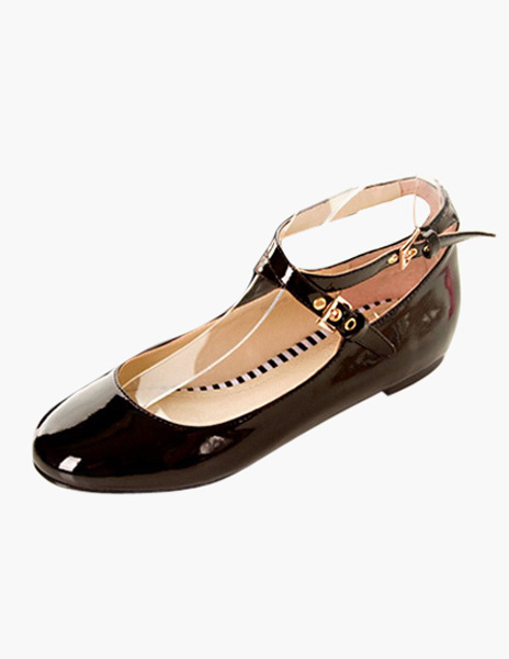 Women Ballet Flats Black Round Toe Criss Cross Flat Shoes