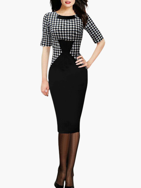 Cotton Blend Houndstooth Print Bodycon Dress for Women