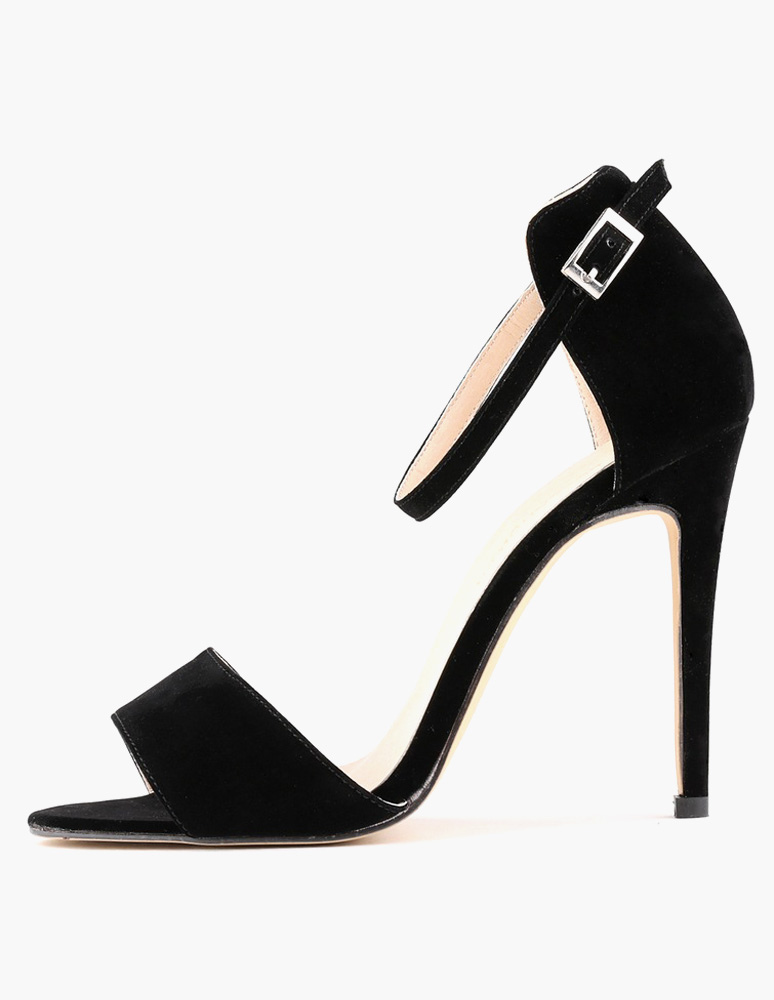 Buy Black Dress Sandals High Heel Sandals Suede Open Toe Buckle Detail Ankle Strap Sandals for $42.74 in Milanoo store