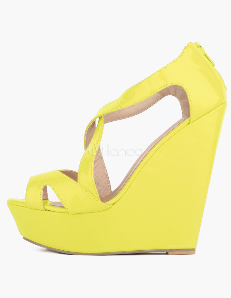 Buy Criss-Cross Peep Toe Patent PU Gorgeous Wedge Sandals for Woman for $33.59 in Milanoo store