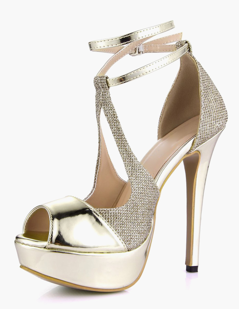 Buy Sexy Ankle Strap Peep Toe PU Leather Light Gold Women's Platform Sandals for $56.69 in Milanoo store