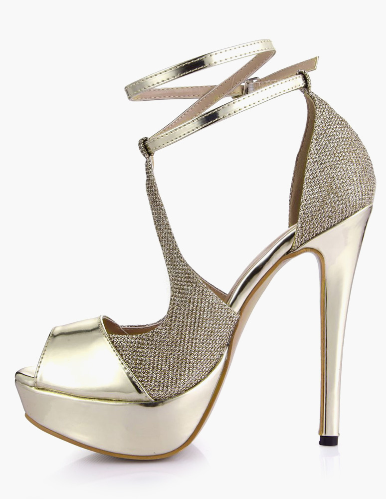 ... Sandales plateforme talons aigus doré clair -No.3 ...