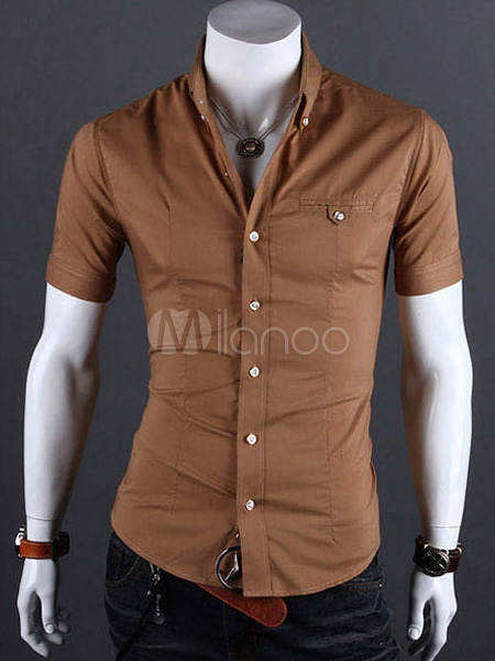 Cotton Blend Short Sleeves Turndown Collar Man's Casual Shirt