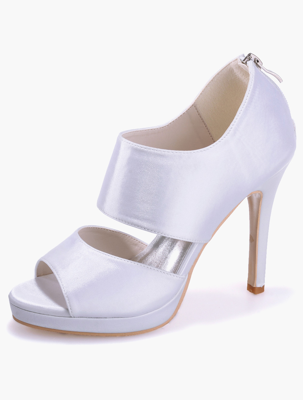 Luxury Zipper Open Toe Satin Evening and Bridal Sandals