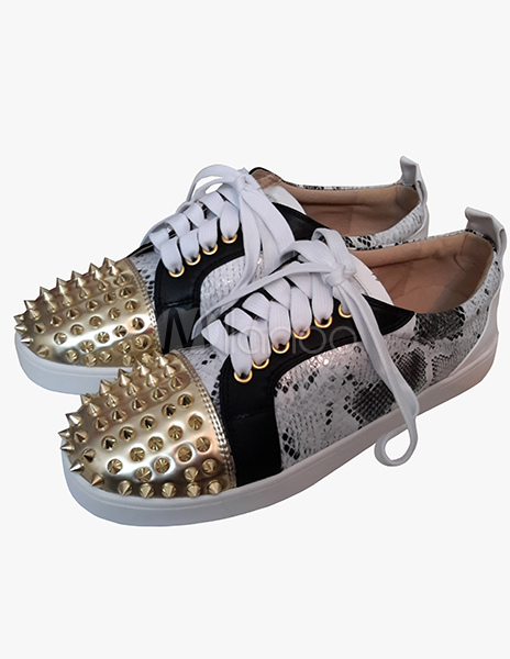Gold Rivets Shoes for Man