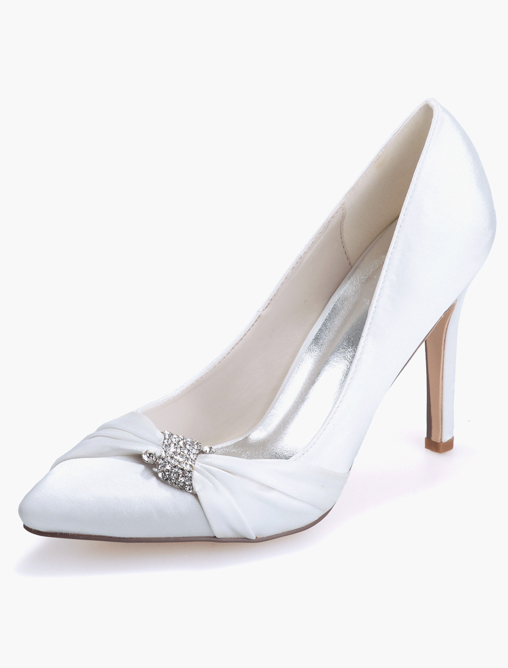 Buy Pretty Satin Rhinestones Pointed Toe Pumps For Bride for $49.49 in Milanoo store