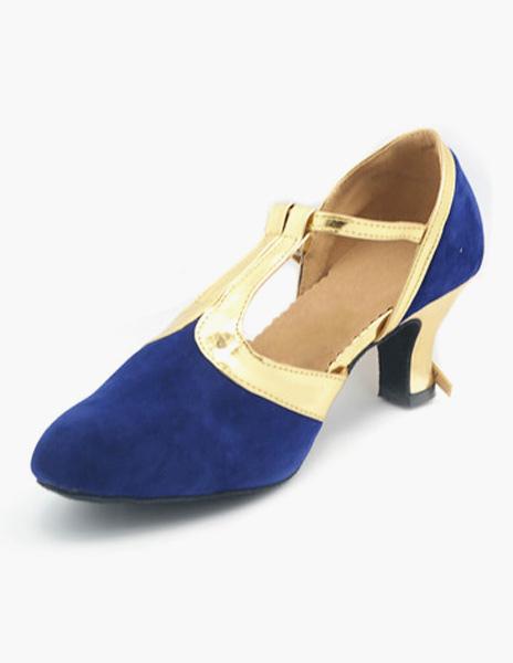 Negro T-tipo vendaje almendra gamuza cuero salón de baile zapatos WjraIsZd