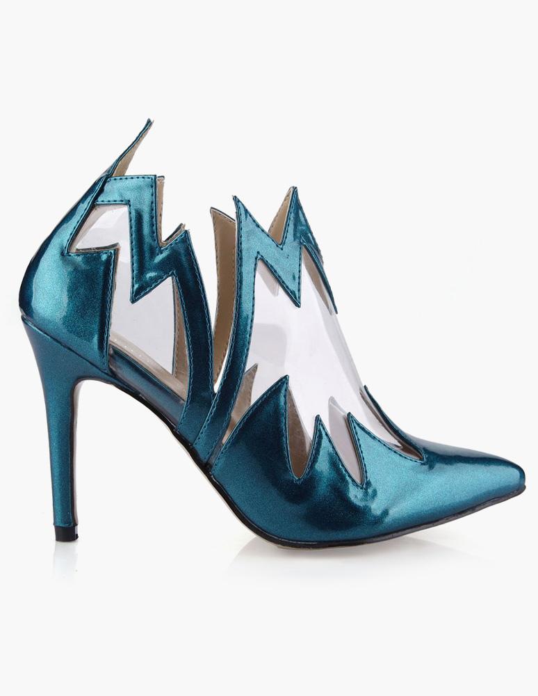 Cuero de la PU azul encantadora dedo del pie puntiagudo tacón n9HDxV8