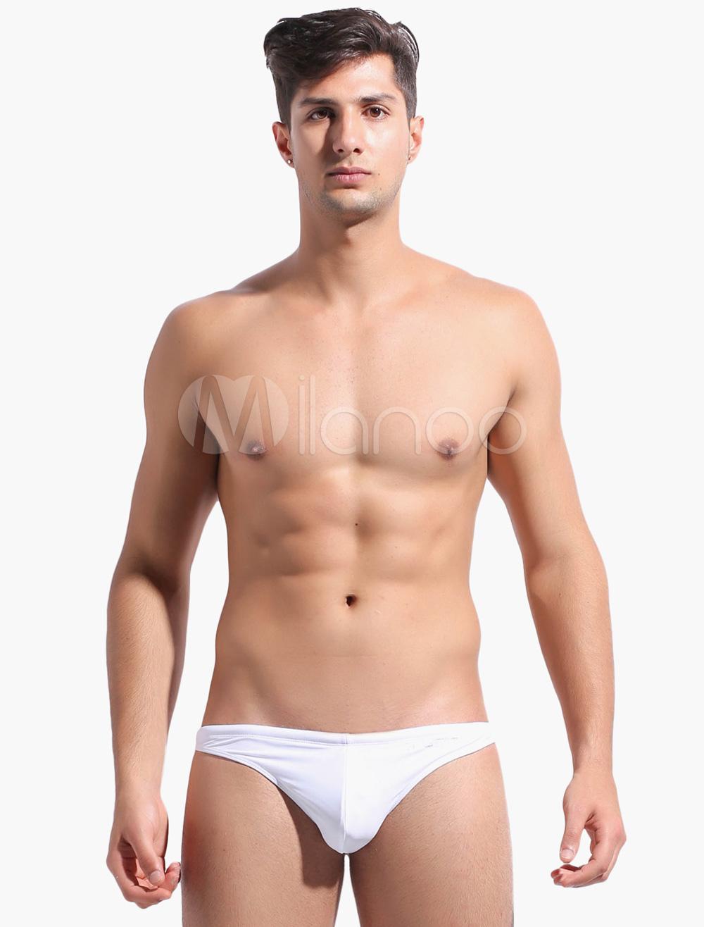 Men Swim Trunk Solid Color Nylon Summer Beach Shorts