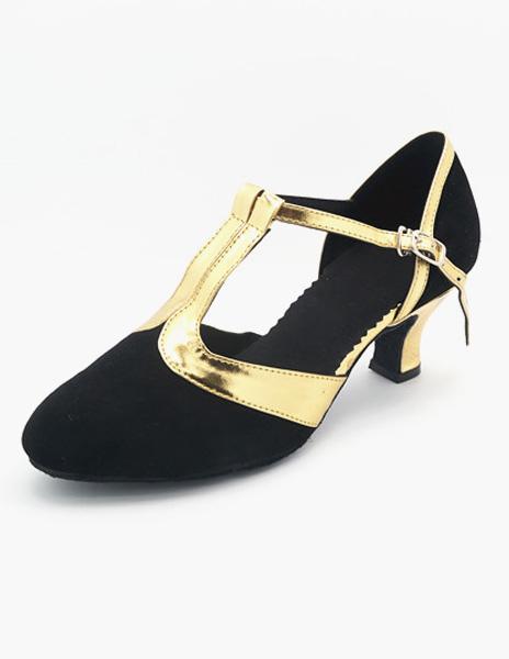 Negro T-tipo vendaje almendra gamuza cuero salón de baile zapatos f3KnCEYTm