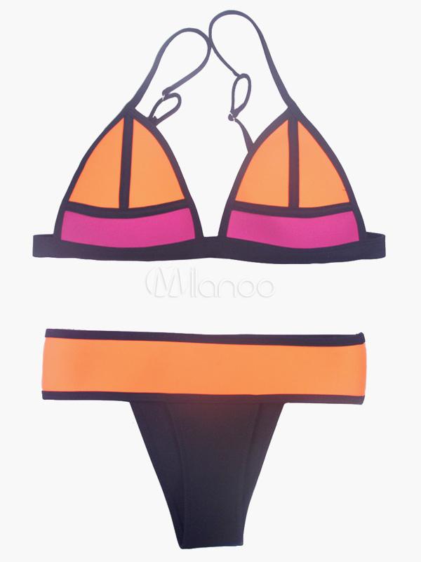 Bikini traje de baño de atractivo Color Block sin hilos mujeres 4FGkkEN3