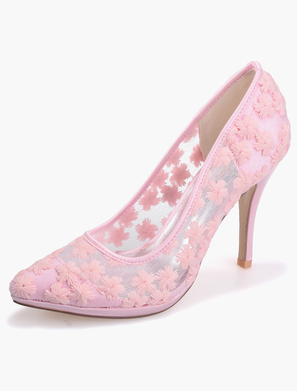 Amazing Lace Pointed Toe Bridal Pumps