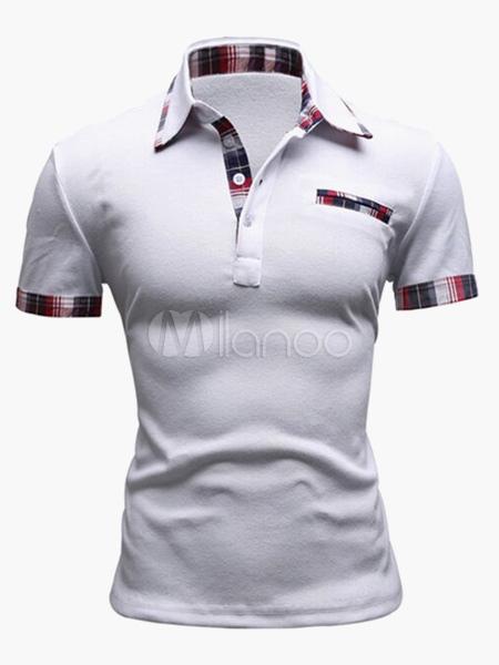 Men Polo Shirt Patchwork Pocket Cotton Top Short Sleeve T Shirt