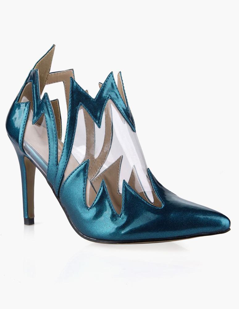 Cuero de la PU azul encantadora dedo del pie puntiagudo tacón n8wQw