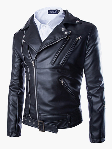 Men Leather Jacket Zipper Surplice Metal Buckle 2018 Black Moto Jacket