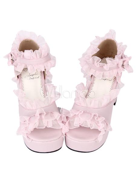 PU Leather Pink Ruffled Trim Mid Heel Round Toe Lolita Sandals