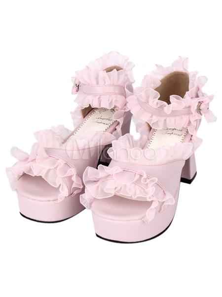 PU de cuero rosa con volantes ajuste medio talón redondo Lolita sandalias