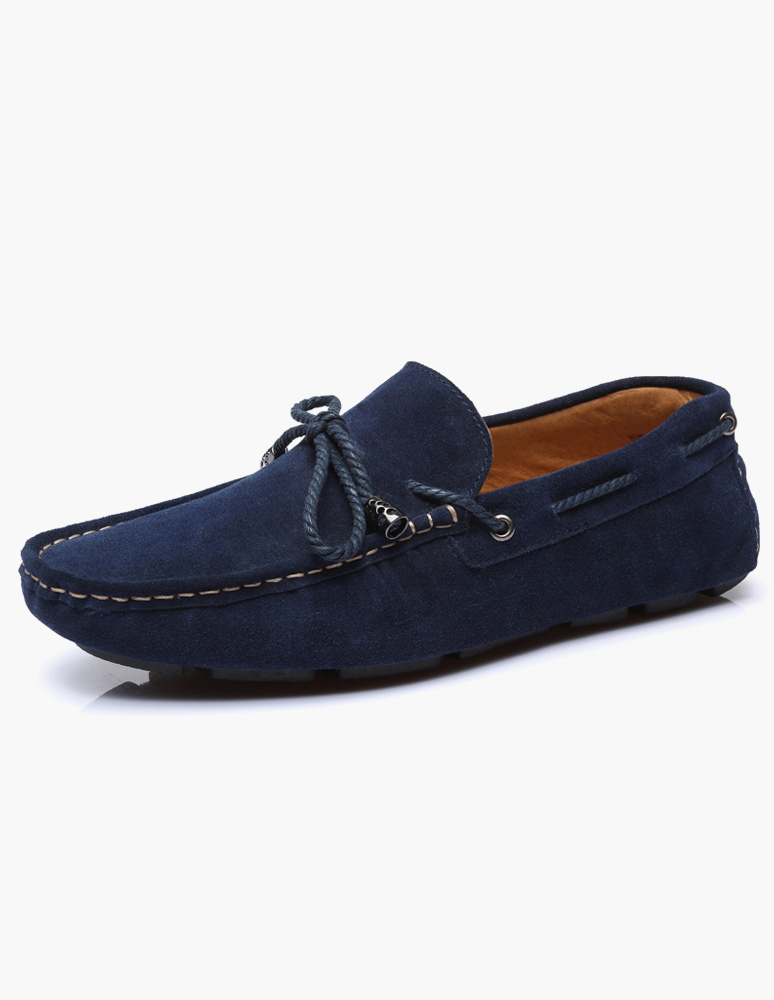 Milanoo / Metal Details Round Toe Suede Leather Mens Loafer Shoes