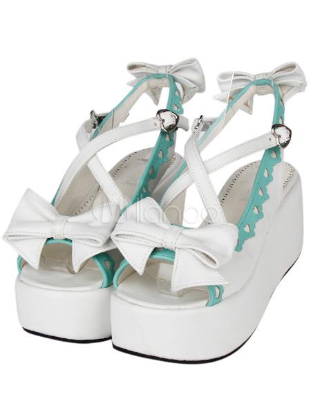 Real a la venta Venta más reciente Hermoso arco entrecruzado PU cuero blanco Lolita sandalias Descuentos baratos en línea v3vSa