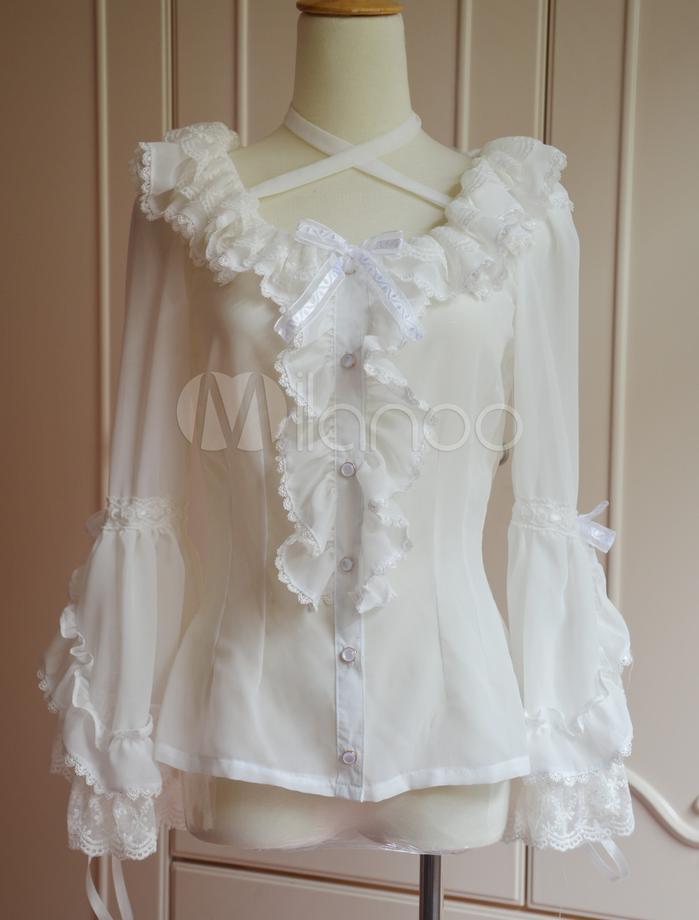 Buy Pure White Chiffon Lolita Blouse Long Hime Sleeves Neck Straps Lace Trim Ruffles for $53.99 in Milanoo store