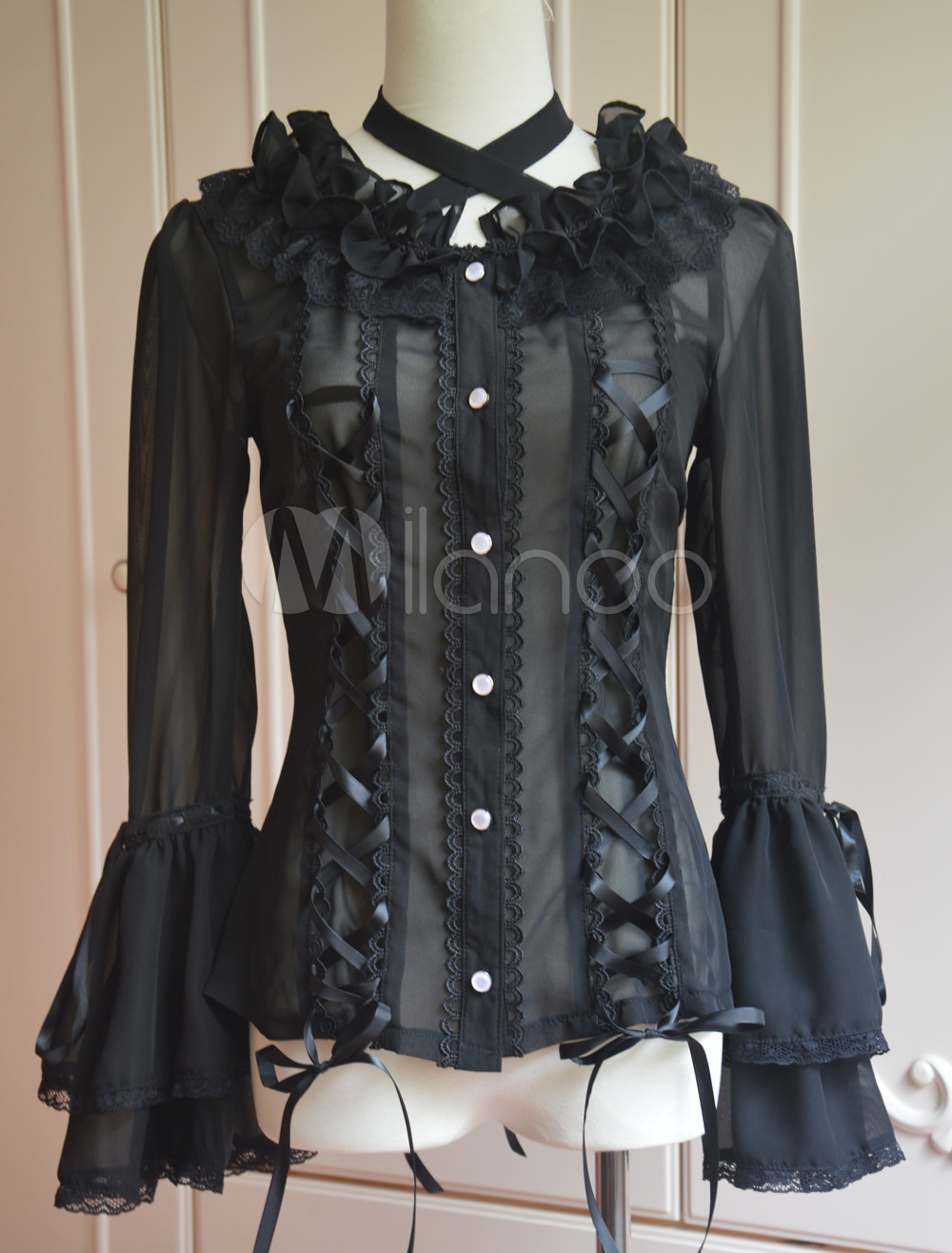 Black Chiffon Lolita Long Hime Sleeves Lace Up Lace Trim Neck Straps