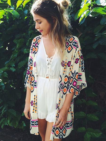 Fabulous Multi Color Printed Kimono Cheap clothes, free shipping worldwide