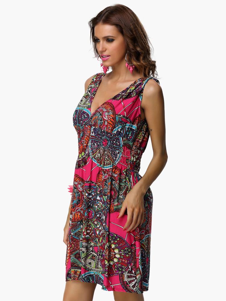 Fuchsia v ausschnitt verdreht polka dot sommerkleid - Sommerkleid v ausschnitt ...
