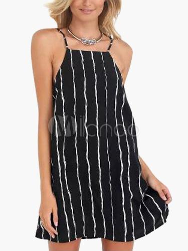 Buy Straps Neck Stripes Adjustable Straps Black Summer Dress for $13.99 in Milanoo store