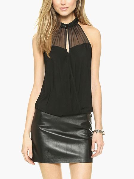 Buy Black Sleeveless Sheer Insert Blouse for $15.99 in Milanoo store