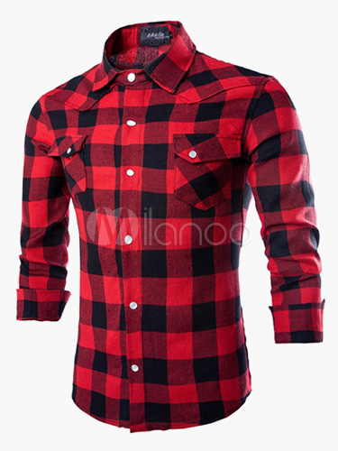Long Sleeve Shirt Tartan Pocket Cotton Casual Shirt For Men