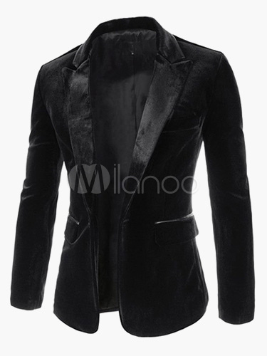 Men Casual Blazer Velour Jacket Lapel Collar One Button Blazer For Men