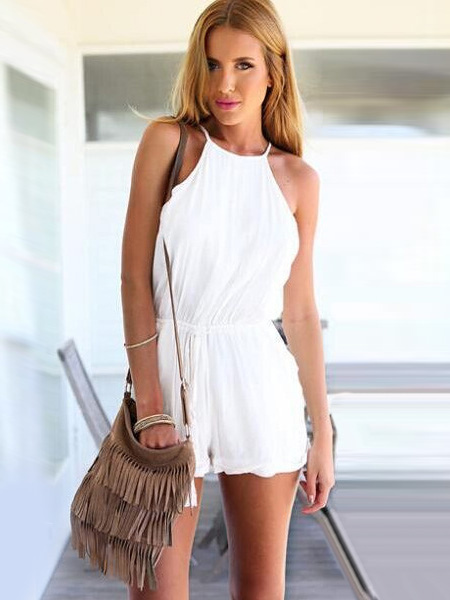 Charming Open Back Casual Romper