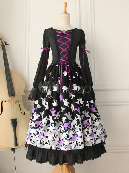 Gothic Black Knotted Cotton Lolita