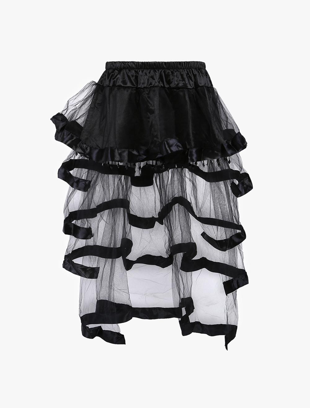 New Fashion Sheer Black Nylon Long Skirt For Women