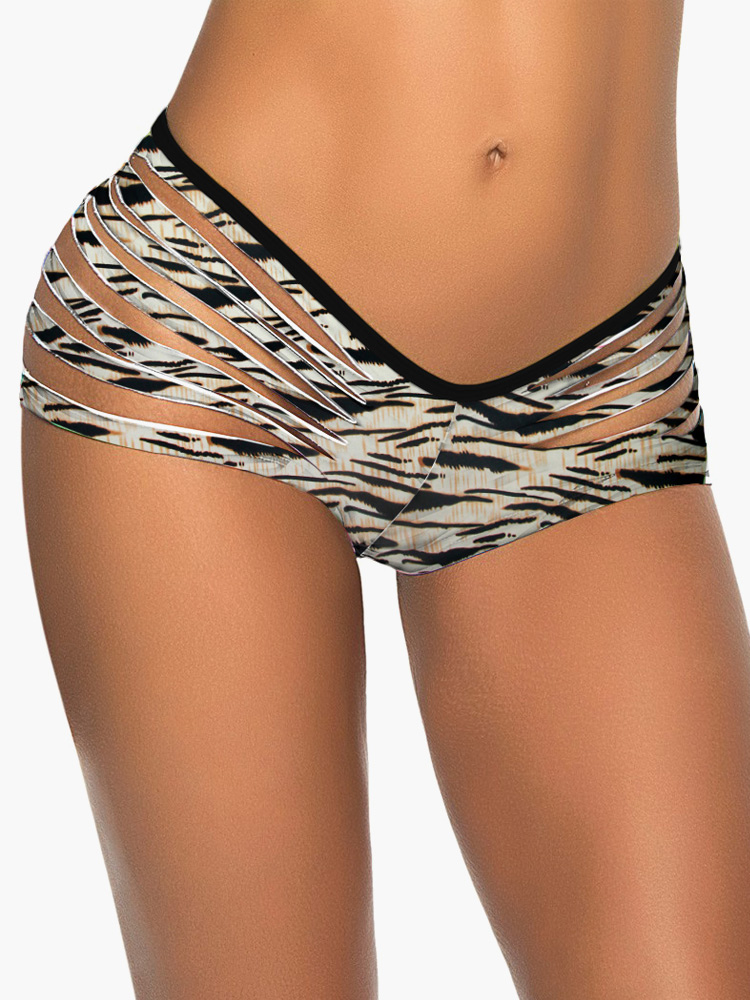 Fashion Printed Lycra Spandex Women's Bikini Swim Brief