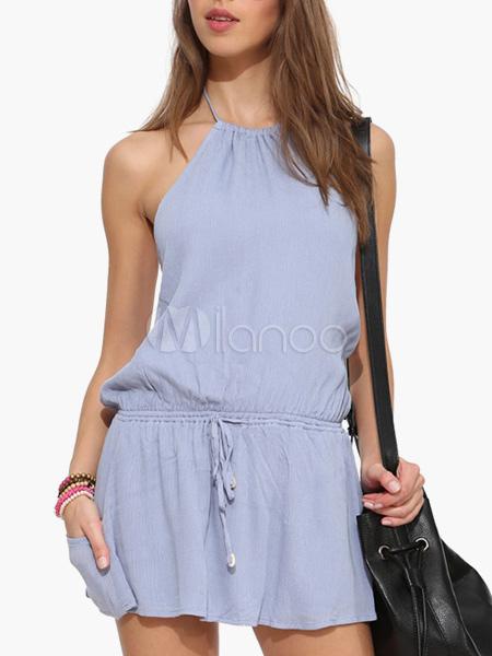 Halter Backless Summer Dress With Drawstring