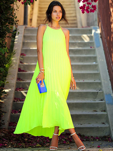 Robe longue vert fluo