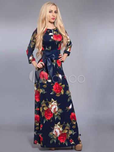 Vestidos largos de flores manga larga