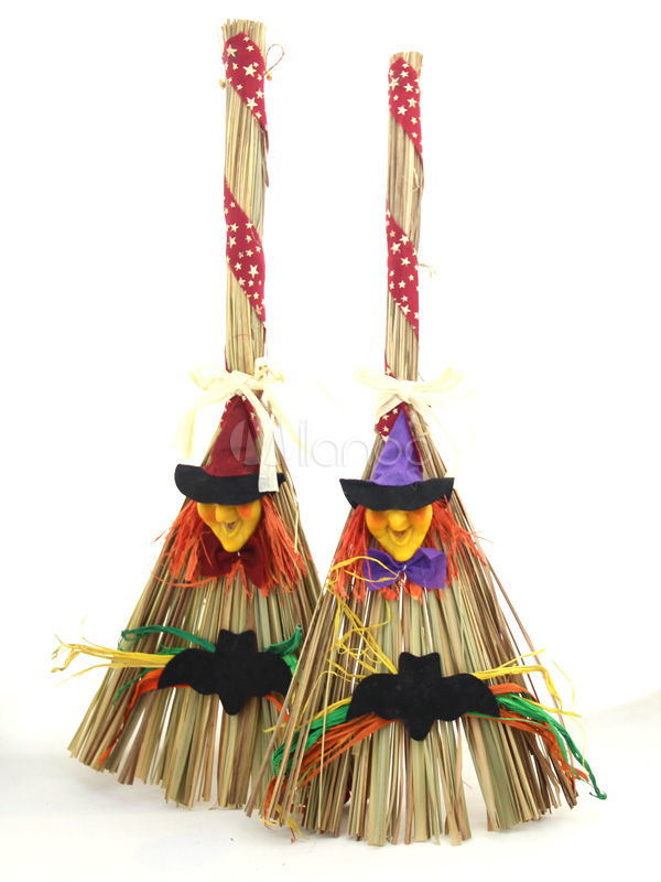 Multi Color Natural And Organic Fiber Halloween Witch Broom