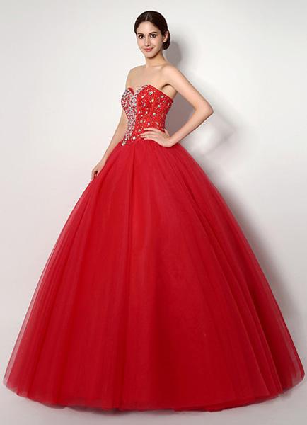 dbf87a575 Vestido de quinceañera rojo tul con rebordear espectacular - Milanoo.com