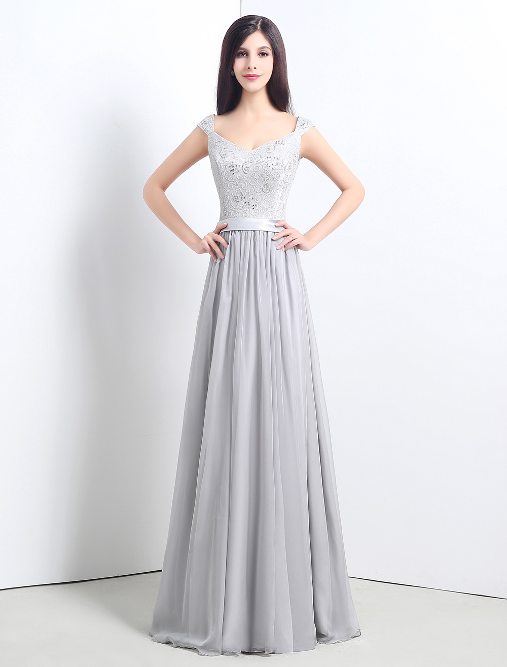 Silver Gray Bridesmaid Dresses Chiffon Floor Length Cap Sleeve Bridesmaid Dress With Lace Bodice
